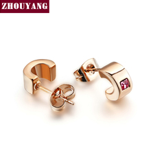 Buy ZYE198 Concise Earrings Rose Gold Color Stud Earrings Jewelry Made Genuine Austrian Crystal Wholesale for $1.44 in AliExpress store