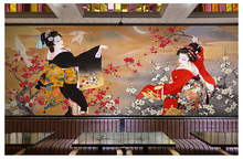 Japanese Sushi Cuisine Shop Wallpaper Restaurant Hotel Theme Package Mural Background Wall 3d Japanese Ladies Wallpaper(China)