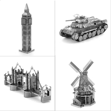 2017 Hot Sale Tiger Tank Miniature 3D Metal Model Puzzles 3D Solid Jigsaw Puzzle Toys for Childern kids diy craft