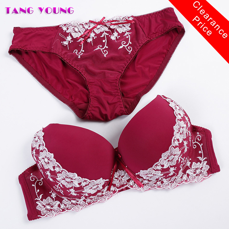 TANG YOUNG New Lace Embroidery Bra Set Plus size Women Sexy Bra Set Push Up Bras Underwear Sets Adjustable Bras and Panties Set