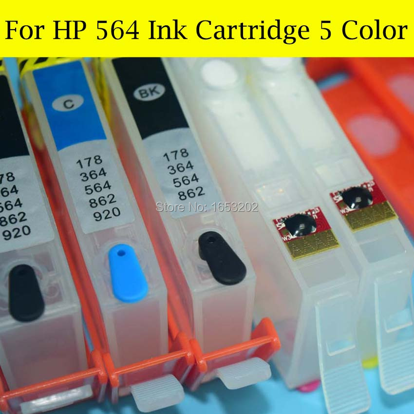 5 Color/Set 564 XL Refill Ink Cartridge For HP 564 For HP Photosmart C309A C309N C310A C5380 C6375 C6380 Printer With<br><br>Aliexpress