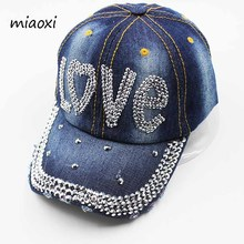 miaoxi New Casual Women Cap Denim Baseball Cap Love Rhinestone Adjustable Letter Summer Hat Caps For Women Adult Hats Snapback