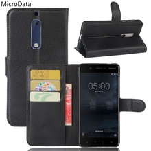 Luxury PU Leather Flip Case For Nokia 5 5.2 Inch Wallet Stand Leather Case Cover On Nokia 5 5.2 Inch(China)
