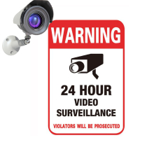 24H CCTV Video Camera System Warning Sign Conspicuous Wall Sticker Surveillance Monitor Decal Public Area Home Security Supplies(China)
