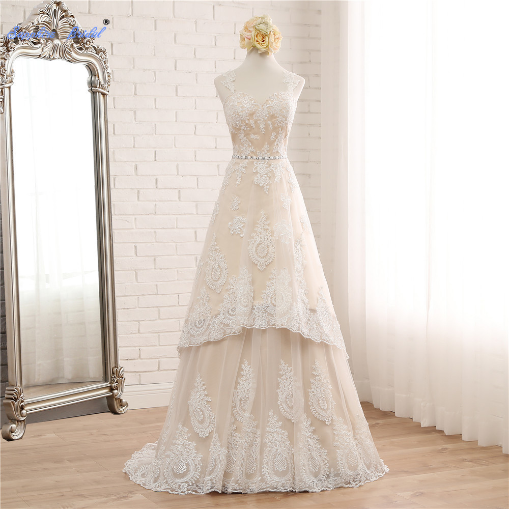 Sapphire Bridal Applique Beading Waist Long Beach Weeding Dress Handmade Two Pieces Detachable Bridal Dress Vestido De Novia
