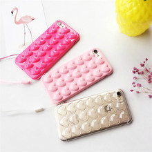 3D Cute Korean Peach Heart Jelly Candy Color Soft Silicone TPU Phone Case Cover With Lanyard For Iphone 7 7 Plus Shell XY4226