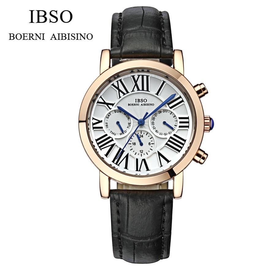 Watches Men Luxury original brand IBSO Sport Watches men Fashion wristwatch Chronograph waterproof Male leather Quartz watch<br>