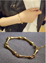 L041 European and American big stars Fan personality metallic thin bones couple bracelets
