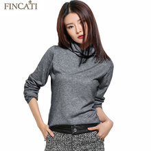 Women's Autumn Winter Fluffy Cashmere Blend Sweater Pile Heap Collar Long Sleeve Knitted Pullovers Pulls Knitwear Tops Jersey(China)
