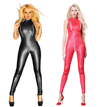 Buy Sexy Black Red Wet Look zipper Faux Leather Jumpsuit Latex Catsuit Club wear Costumes Women Open Crotch Bodysuit Fetish Uniforms