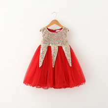 Girls sequined summer shining dresses baby kids party holiday 3-7 yrs wear children dance/wedding Christmas clothing 5BS511DS-07(China)