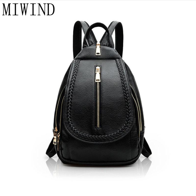 2017 Multifunctional bag Women Backpack High Quality PU Leather Bucket Shoulder Bag Travel Backpacks bag For Teenagers TLQ326<br>