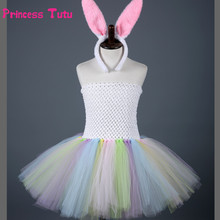 Lovely Tutu Dress Kids Girl Easter Bunny Costume Princess Baby Girl Rabbit Cosplay Dress Children Tulle Tutus With Ears and Tail(China)