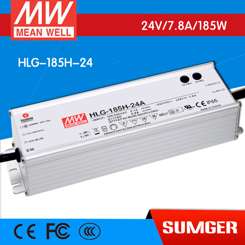 [NC-A] MEAN WELL original HLG-185H-24 24V 7.8A meanwell HLG-185H 24V 187.2W Single Output LED Driver Power Supply<br>