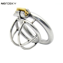 Buy Zerosky Penis Ring Cock Cage Sex Toys Men Chastity Belt Male Stainless Steel Exquisite Male Penis Restraint Cock Cage 3 size