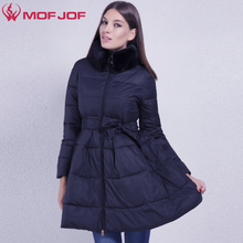 MOFOF Women Winter Jacket skirt light fabric soft faux fur removable high collar Warm Winter coat female outerwear parkas(China)