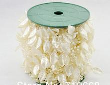 Free Shipping!60meters/roll IVORY leaf pearl garland wedding centerpiece flower table candle decoration crafting DIY accessory(China)