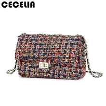 Cecelia 2017 Woman Big Bag Ladies Luxury Handbag Women Plaid Chain Flap Shoulder Bag Mini Quilted Handbag Black Bolsas Femininas(China)
