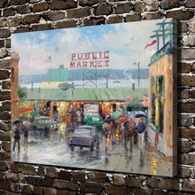 H1064 Thomas Kinkade Pike Place Market Scenery,HD Canvas Print Home decoration Living Room Bedroom Wall pictures Art painting