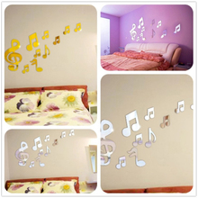 Surface Sticker Romantic Music Note Acrylic Mirror DIY 3D Wall Stickers Home Decorative Mural Decal