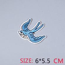 HOT sale 1Pc  magpies swallows blue bird  Iron On Embroidered Patch For Cloth Cartoon Badge Garment Appliques DIY Accessory