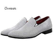 Handmade Lattice Design Mens Casual Shoes Party and Street Men Dress Loafers Carved Red Bottom Smoking Slippers Men's Flats