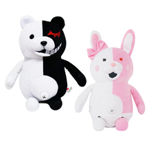"1pcs 10"" 25cm Dangan Ronpa Monokuma Doll Plush Toys Black & White Bear Pink & White Rabbit Top Quality Kids Toys"