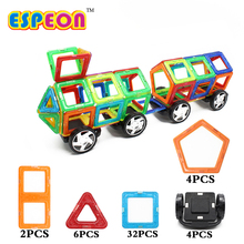 Big Size 48PCS Enlighten Bricks Educational Magnetic Designer Toy Truck Model Kids Toys 3D DIY Building Blocks For Children