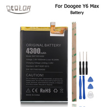 For Doogee Y6 Max 3D Battery 100% Original Quality Battery 4300mAh Smartphone Replacement Accessories For Doogee Y6 Max+Tool