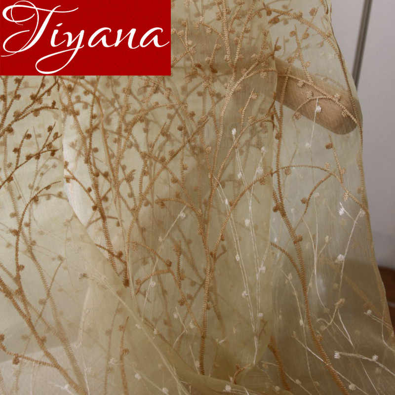 Embroidered Voile Curtains Beige Trees Pattern Window Modern Living Room Balcony Tulle Curtains Sheer Fabrics Cortinas X158 #20