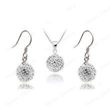 Romantic Style Crystal Jewelry Sets Mix Colors Pendant Drop Earrings Micro Pave Disco 10mm Beads Crystal Jewelry Sets SHSE61(China)