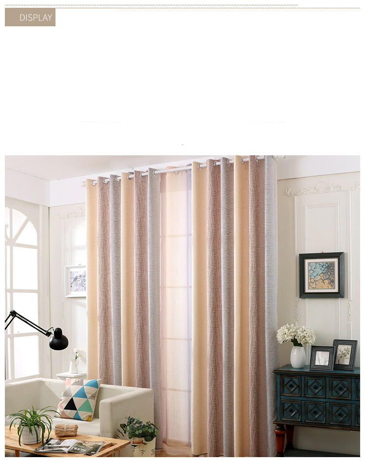 White Silk Cotton Hemp Color Gradient Shading Printing Water Waves Curtains for Living Room Bedroom Shading 6