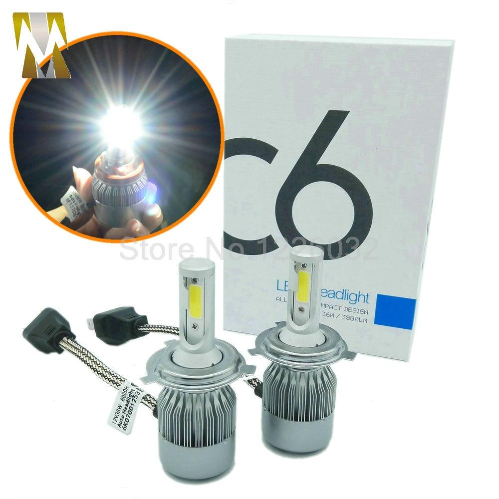 2Pcs Small Size COB LED Headlight H4 Hi/Lo 9003 Auto LED Headlight Bulb Head Lamp 3800LM White 6000K Yellow 3000K 9004 9007 H13<br><br>Aliexpress