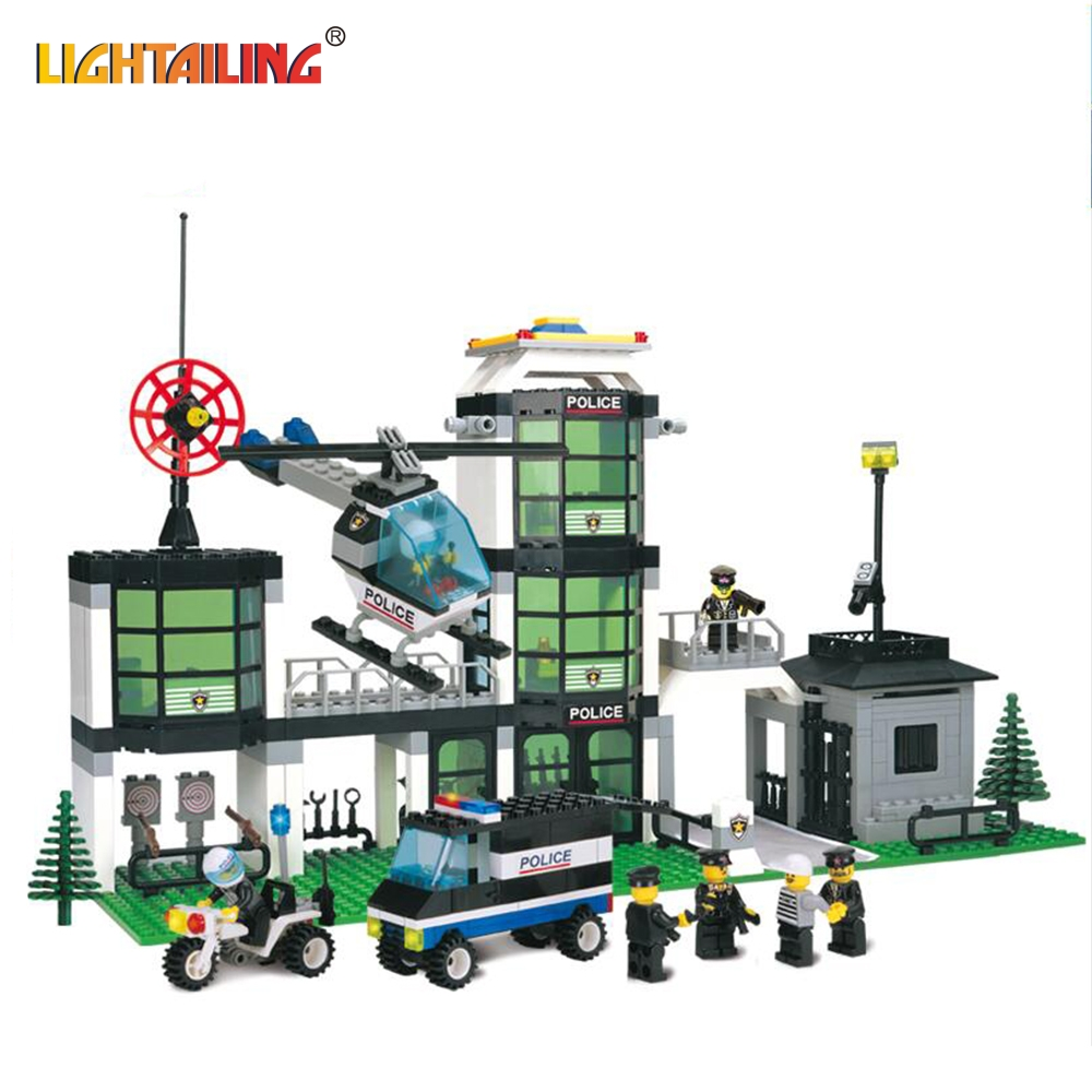 building block set compatible with lego city Hotel De Police 3D Construction Brick Educational Hobbies Toys for Kid@#MWLXC<br><br>Aliexpress