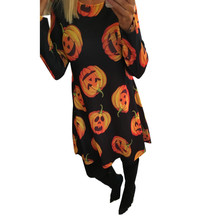 Buy MUQGEW High Recommend Ladies Women Halloween Pumpkin Print Long Sleeve Party Swing Mini Dress winter dress womens clothing for $7.47 in AliExpress store