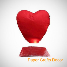 250pcs/lot Heart Shaped Biodegradable Paper Luminary Flying Sky Lanterns Wedding Party Decoration