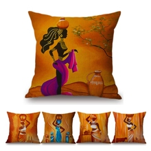 Buy 2018 Decoration Art African Oil Painting Sofa Throw Pillow Cover Africa Women Lifestyle Cotton Linen Cushion Cover Car Pillows for $7.48 in AliExpress store