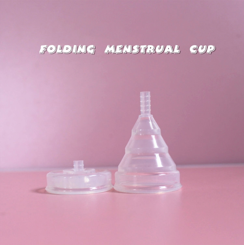Wholesale Feminine Hygiene Product Medical Silicone Menstrual Cup Menstrual Period Cup Reusable Foldable Bag Packing for Women 7