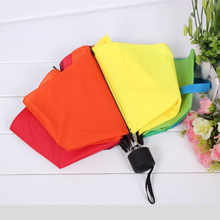 Three Folding Rainbow Creative Cute Classic Umbrella compact big rain umbrella universal handle sun rain Outdoor Umbrella Women(China)