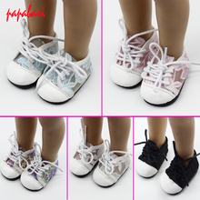 1Pair Doll Lace Sports Shoes For 18'' American Girl Dolls Rose Red Glitter Shoes Doll Accessories,Christmas Gift Free Shpping(China)