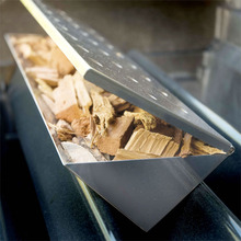 1 PC 13.75'' (35cm)  Large V-Shape Gas Grill BBQ Smoker Box Long Stainless steel Smoker Flavor Wood Chips Grill BBQ Accessories