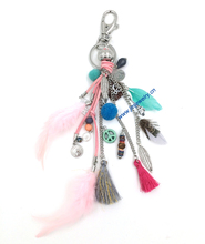 personalized custom unique car key chains lanyards Key ring key finder feather keychains Leather tassel(China)