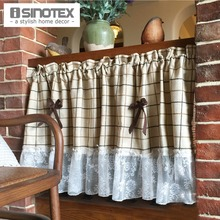 Kitchen Curtain Panel Polyester Dust-Proof Pleated Curtain For Kitchen Lace Decoration American Style 1 PCS