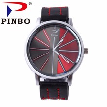 Creative design New Famous PINBO Brand Men Silver Big Dial Casual Quartz Watch Men Leather Military Watches Relogio Masculino