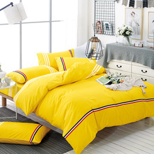 Brief Style Bedding Sets 100% Polyester Duvet Cover Set Yellow Color Bedclothes Bed Linen Soft Home Textile XF216(China)