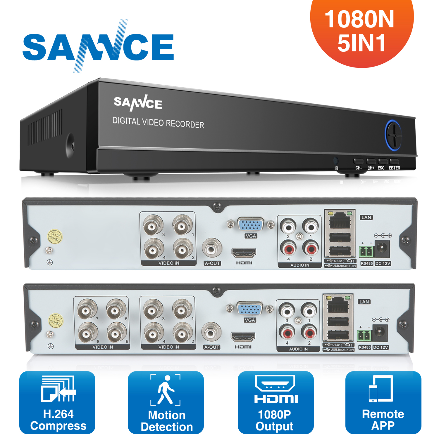 SANNCE 8 Channel 720P  H.264 Video Recorder HDMI Network D1 Realtime CCTV DVR NVR HVR 8CH for Home Security Camera System<br>