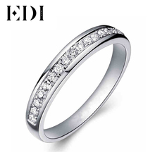 EDI 0.21cttw Certificate Diamond Wedding Band For Women 9K Solid White Gold Wedding Enternal Engagement Ring Diamond Jewelry