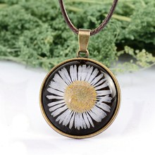 Copper Color Glass Floating Locket Dried Flower Real Daisy Necklaces Women Dried Pressed Flowers Necklace DIY Jewelry(China)