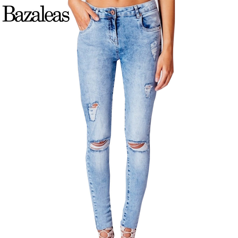 Bazaleas 2017 Sexy Washed Ripped Hole Denim Jean Pockets Pencil Denim Women Bottom Female Light Blue Plus Size Skinny PantsОдежда и ак�е��уары<br><br><br>Aliexpress
