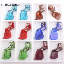 Gift Glass Jewelry Distorted Fringe Murano Glaze Glass Pendant for Necklace Lampwork Glass Charms Mixed Colors FEAL C309